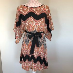 Flowy paisley Anthropologie dress with sash
